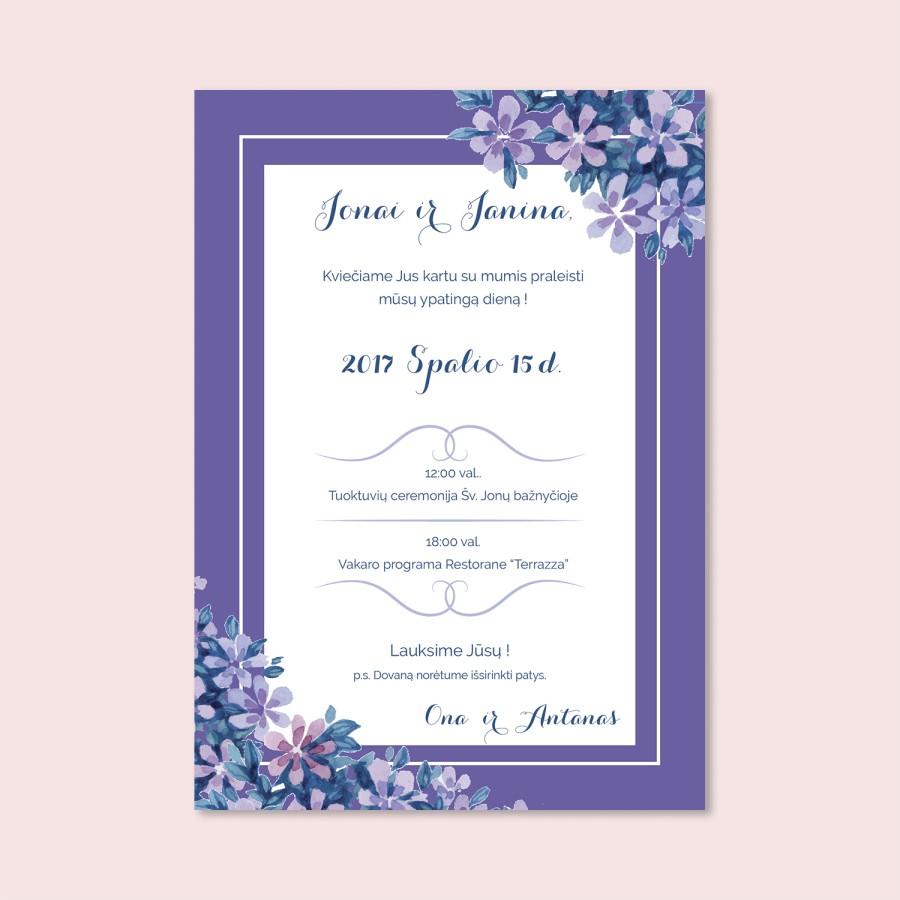 Šviesiai violetiniai vestuvių kvietimai