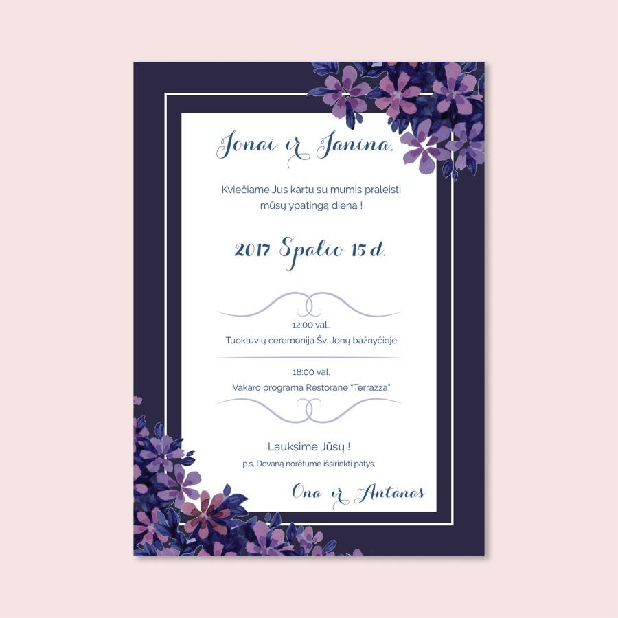 Tamsiai violetiniai vestuvių kvietimai