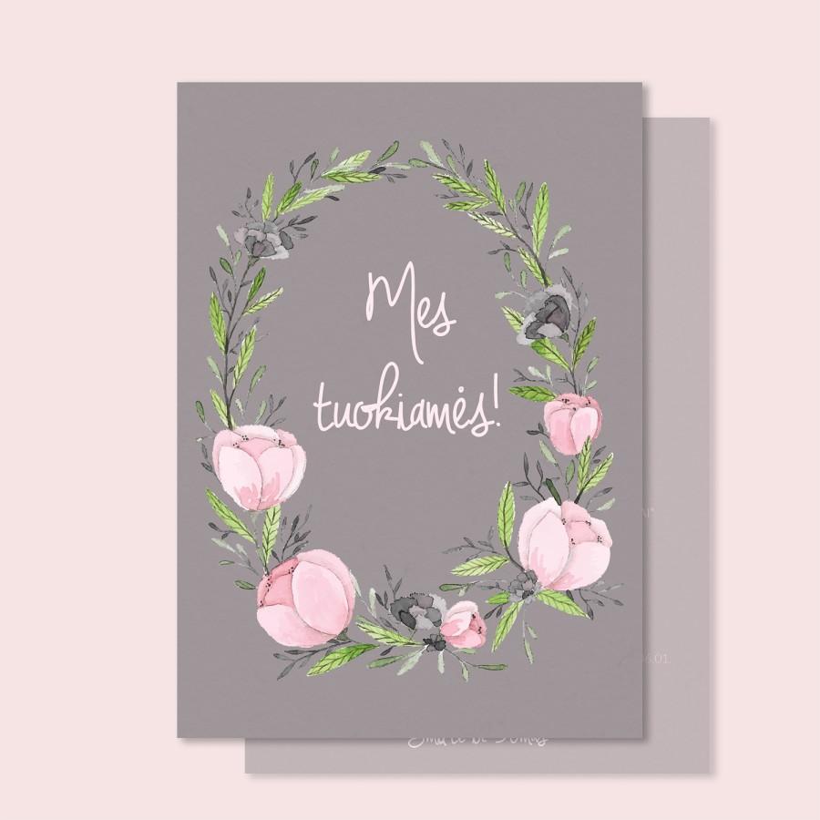 """Vestuvių kvietimai """"Rausvos gėlytės"""""""